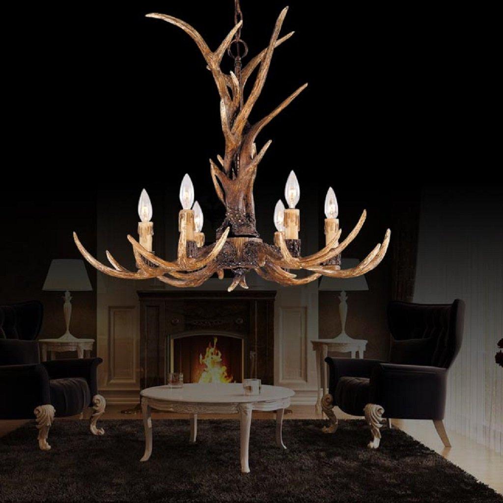 EFFORTINC Vintage Style Resin Antler Chandelier 6 Lights,Living room,Bar,Cafe, Dining room, Bedroom,Study,Villas,American Retro Deer Horn Pendant Lights 2