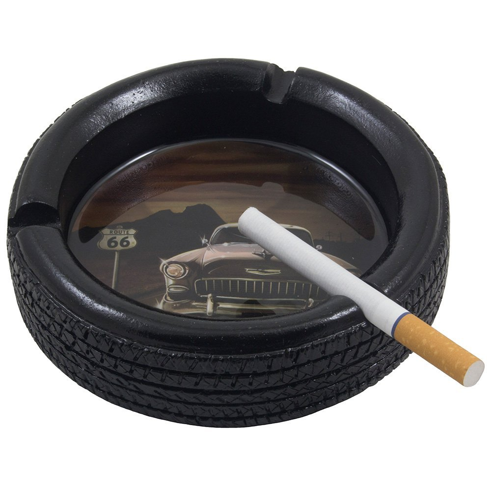 Car Tire Ashtray with Elvis Presley's Pink Cadillac on Route 66 for Vintage Auto Mechanics Shop or Retro Roadhouse Table Decor As Classic Father's Day Gifts for Dad 0