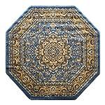 Traditional Octagon Area Rug Design Bellagio 401 Blue (7 Feet 3 Inch X 7 Feet 3 Inch) Octagon