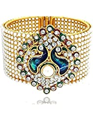 Jewels Galaxy Peacock Traditional Style Gold Plated Pearl Studded Kara Bangle For Women