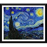 Tallenge - The Starry Night Painting By Vincent Van Gogh - Ready To Hang Framed Art Print On Matte Laminated Photographic Paper For Home And Office Décor (36 Inches X 29 Inches)