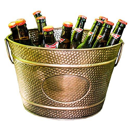 BREKX Hillcrest Bronze Pebbled Galvanized Beverage Tub Wine Bucket & Planter, Medium 0