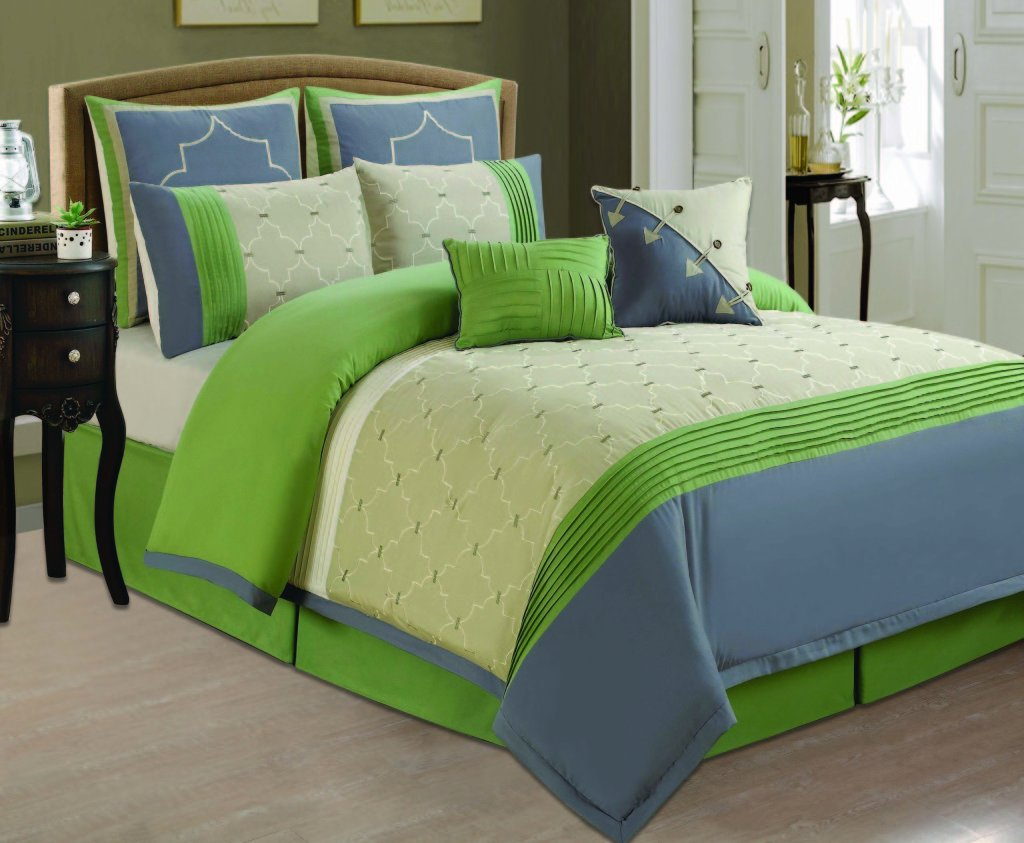 Blue and lime green bedding car tuning