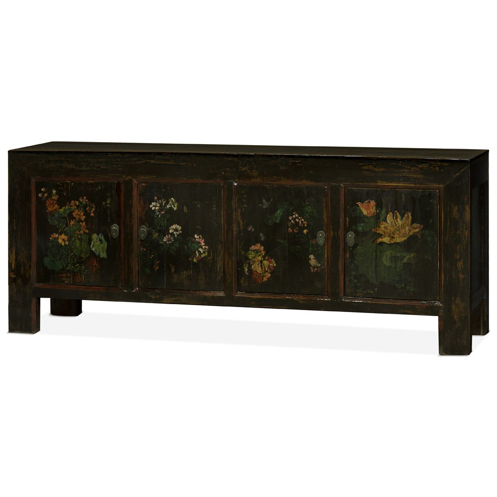China Furniture Online Elm Wood Sideboard Buffet Cabinet With Floral Paintings