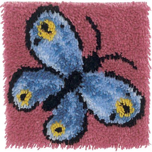 Wonderart 4677 12-Inch by 12-Inch Latch-Hook Kit, Butterfly