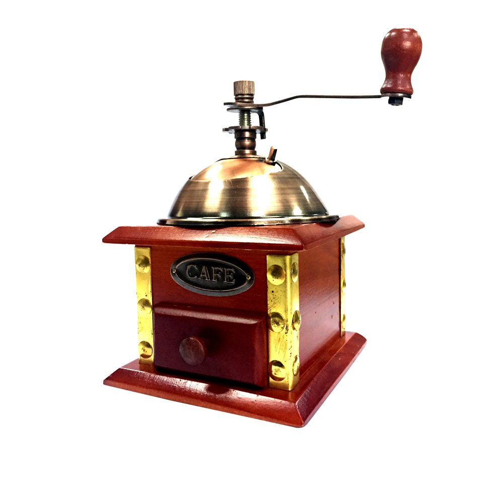 XHHOME Retro Style Manual Hand-crank Coffee Grinder Golden Tone, Ceramic Burr Core Wood Case 4.7