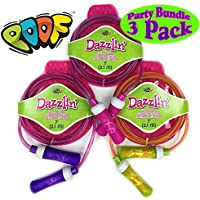 Poof Slinky Hot Ropes 7 Dazzlin Jump Ropes Pink/Blue, Pink/Purple & Pink/Green Gift Set Party Bundle 3 Pack