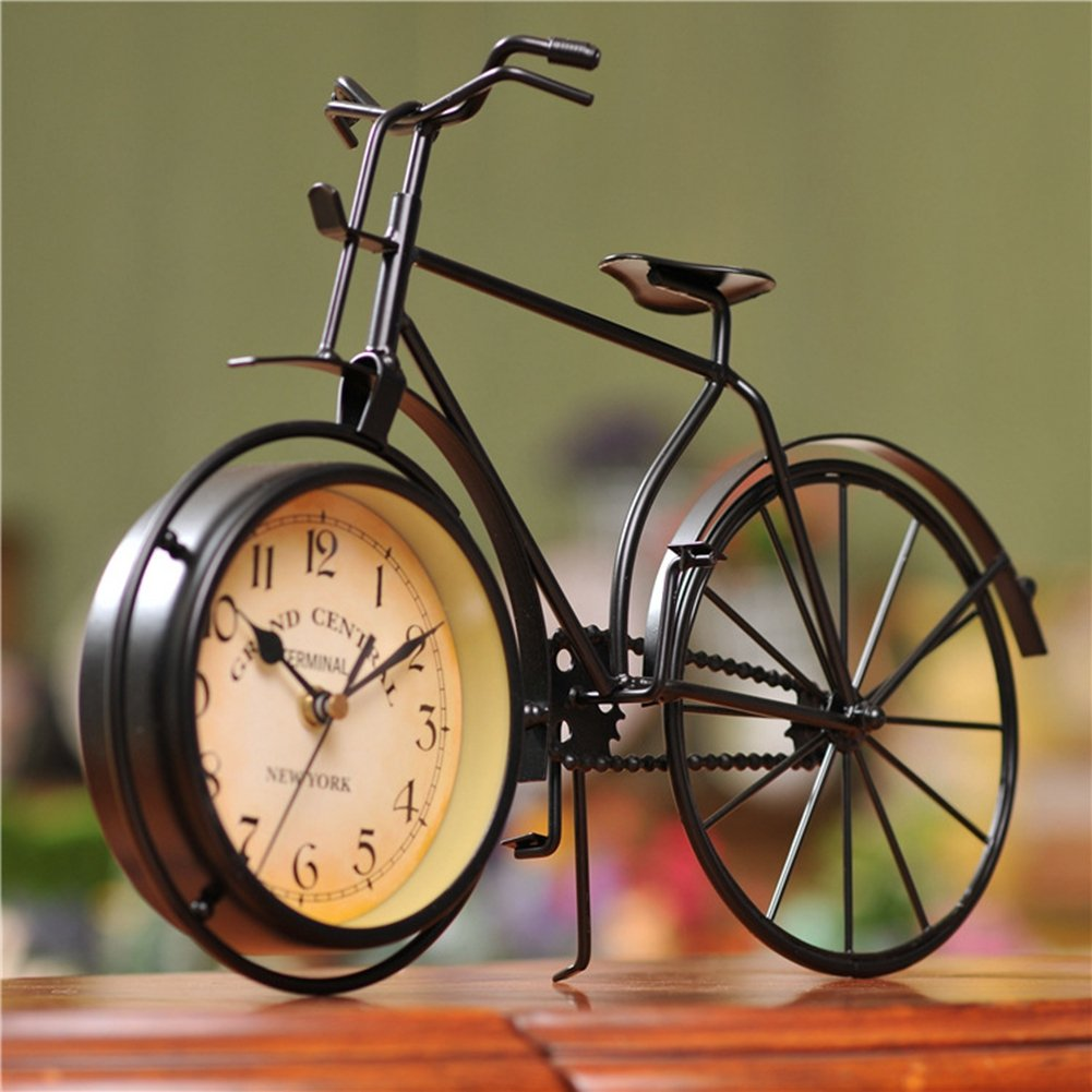 NEOTEND Handmade Vintage Bicycle Clock Bike Mute Black Table Clock Black Color 1