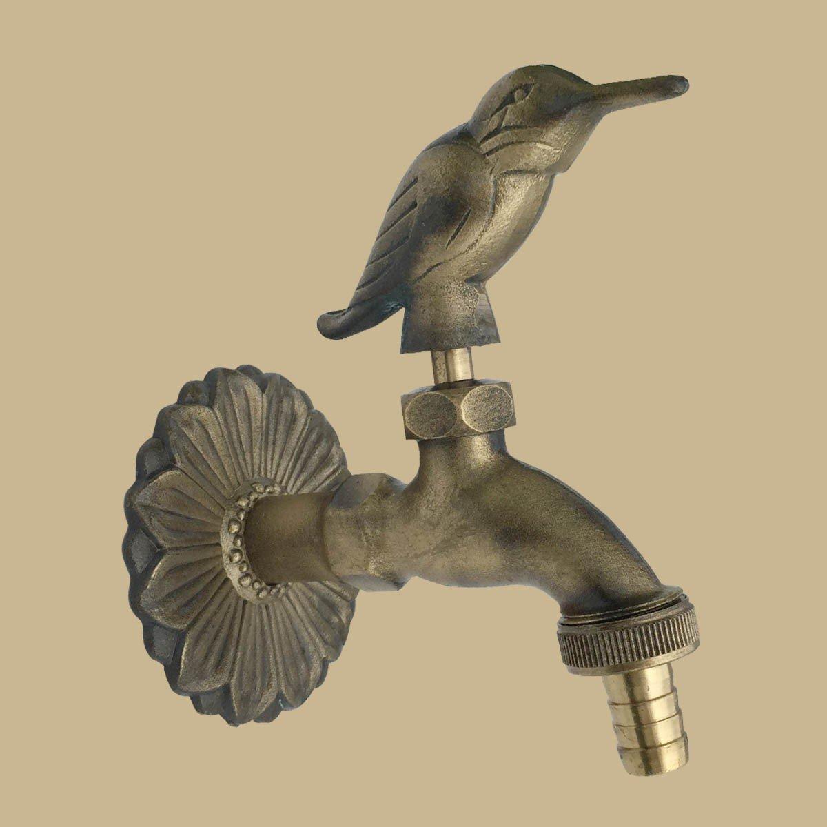 Outdoor Faucet Bird Spigot Garden Tap Antique Brass   Renovators Supply 1