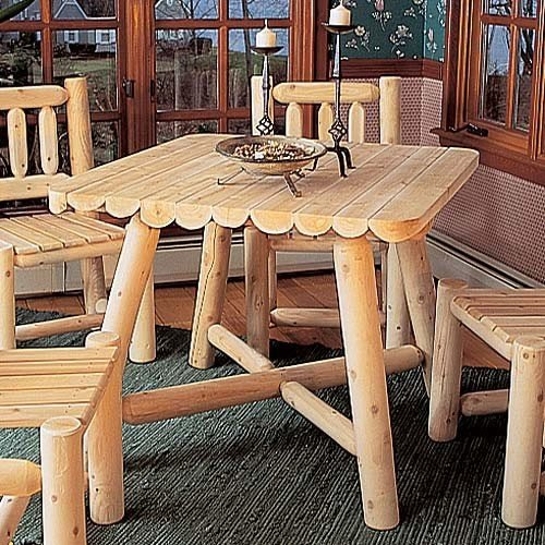 "Cedar Log 37"" Square Dining Table"