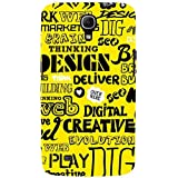 For Samsung Galaxy Mega 6.3 I9200 :: Samsung Galaxy Mega 6.3 SGH-i527 Word Pattern ( Word Pattern, Design, Thinking, Good Quotes, Yellow Background ) Printed Designer Back Case Cover By FashionCops