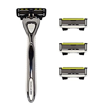 5 shave lab zero kit rasoir manuel et 4 4 lames de rasoir blanc avec p 6 6. Black Bedroom Furniture Sets. Home Design Ideas