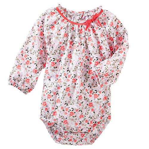 """OshKosh Baby Girls' """"Garden Gal"""" L/S Bodysuit - coral/multi, 24 months"""