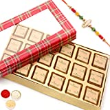 Rakhi Gifts Sweets- Red Checks 18 Pcs Mewa Bites Box R1