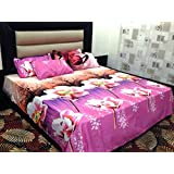 Peponi Pink Floral Printed Poly Cotton Double Bedsheet With 2 Pillow Cover