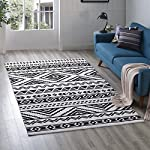 Modway R-1010A-58 Haku Geometric Moroccan Tribal Area Rug, 5X8, Black and White