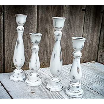Set of 4 SHABBY CHIC True White Chippy Candle Holders - Rustic Candleholders - Taper Candlesticks