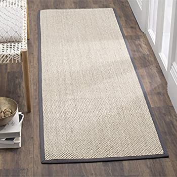"Safavieh Natural Fiber Collection NF143D Marble and Dark Grey Sisal Runner (26"" x 8)"