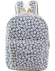 Huachnet Girl's Canvas Backpack School Bag (Blue Little Flower)
