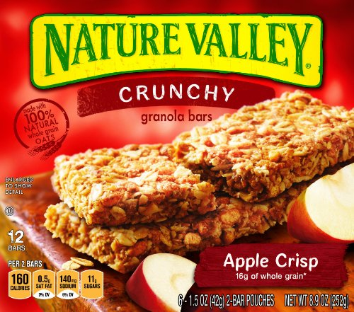 Nature Valley Crunchy Granola Bars, Apple Crisp, 12-Count Boxes (Pack of 6)