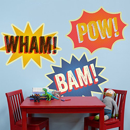 "Oopsy Daisy Halftone Wham, Bam, Pow Peel and Place, Multiyellowblue, 54"" x 30"""