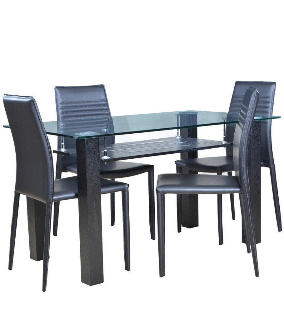 Hometown presto four seater dining table set black for Dining table set 4 seater