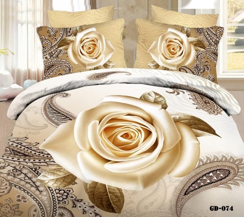 Queen King Size 100% Cotton 7-Pieces 3D Yellow Khaki Rose Paisy White Floral Prints Fitted Sheet Set With Rubber Around Duvet Cover Set/Bed Linens/Bed Sheet Sets/Bedclothes/Bedding Sets/Bed Sets/Bed Covers/ Comforters Sets Bed In A Bag (King) front-932386