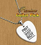 Pint Shot Riot Chain / Necklace Bass Guitar Pick Both Sides Printed