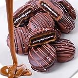 Belgian Chocolate Caramel Sea Salt Covered Oreo Sandwich Cookies Gift Box - 12pc - Milk and Dark Chocolate