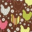 Tissu biologique Robert Kaufman marron poulet & fleur