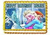 Frozen Waterfall Hug 1/4 Sheet Edible Photo Birthday Cake Topper. ~ Personalized!