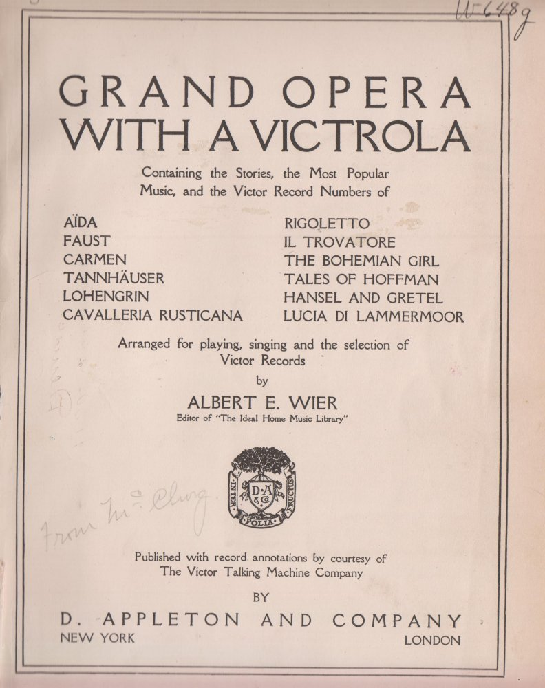 Grand Opera with a Victrola, Wier, Albert E.