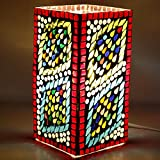 EarthenMetal Handcrafted Hyper Rectangular Shaped Mosaic Design Multicoloured Glass Table Lamp