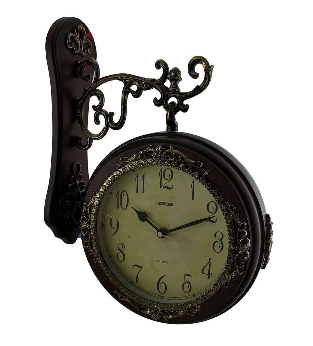 Ornate Antique Style Double Sided Mahogany Wood Finish Wall Clock 18 Inch