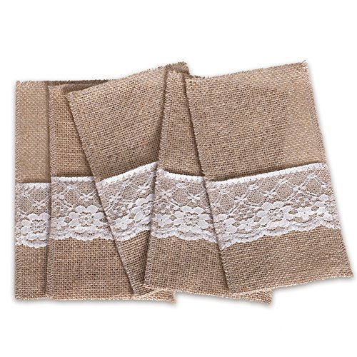 Ling's moment 4x8 Inch Burlap Cutlery Holder Pouch with Lace, Pack of 50