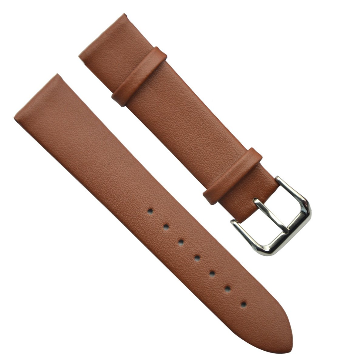20mm Men's Vintage Regular Replacement Genuine Leather Silver Buckle Watch Strap/Watch Band stainless steel watch buckle band black deployment clasp strap belt metal relojes hombre 2017 replacement 16mm 18mm 20mm ome102