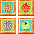 Artistic Home Gallery 1212623S Familiar Friends Collection Cow, Hen, Pig, & Sheep by Rebecca Lyon Premium Stretched Canvas Wall Art Set - 4 Piece