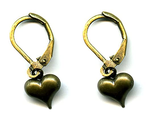 Heart earrings antiqued bronze for mother's day
