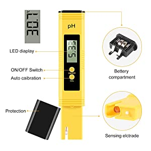 Digital PH Meter, Water Quality Tester 0.01 High Accuracy Quality 0-14 Measurement Range for Household Drinking Water, Swimming Pools, Aquariums, Hydroponics (Color: Yellow)