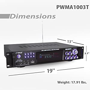 Pyle 4 Channel Home Audio Power Amplifier - 1000 Watt Stereo Receiver w/ Speaker Selector, AM FM Radio, USB, Headphone, 2 Wireless Mics for Karaoke, Great for Home Entertainment System - PWMA1003T