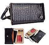 NuVur ™ Crocodile Embossed Faux Leather ::Smartphone:: Universal Wallet Clutch Fits Acer Liquid Jade|Black