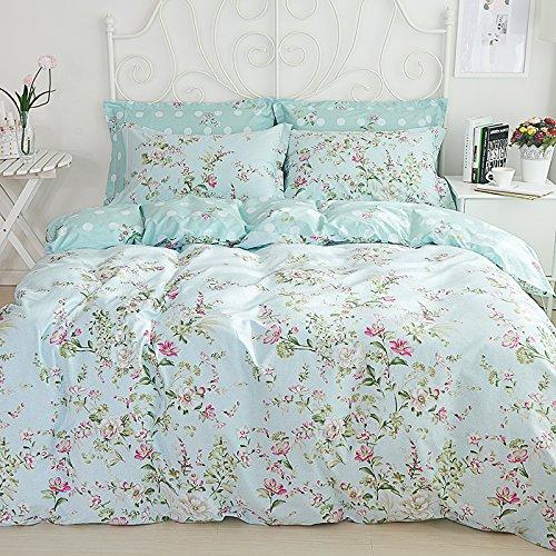Sisbay Spring Rural Bedding Set Vintage Cotton,New Design Elegant Floral Duvet Cover,Girls Wedding Bed Sheet Full,4pcs 1