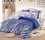 3pc Tree Duvet Cover Set: Duvet Cover and Two Pillow Shams (Blue-White, King)
