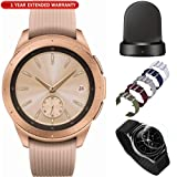 Samsung Galaxy Watch Smartwatch 42mm Stainless Steel Rose Gold (SM-R810NZDAXAR) Wireless Charging Base Dock, 5pc Nylon Replacement Straps, Tempered Glass & 1 Year Extended Warranty (Color: rose gold, Tamaño: Galaxy Watch (42mm) Rose Gold Kit)