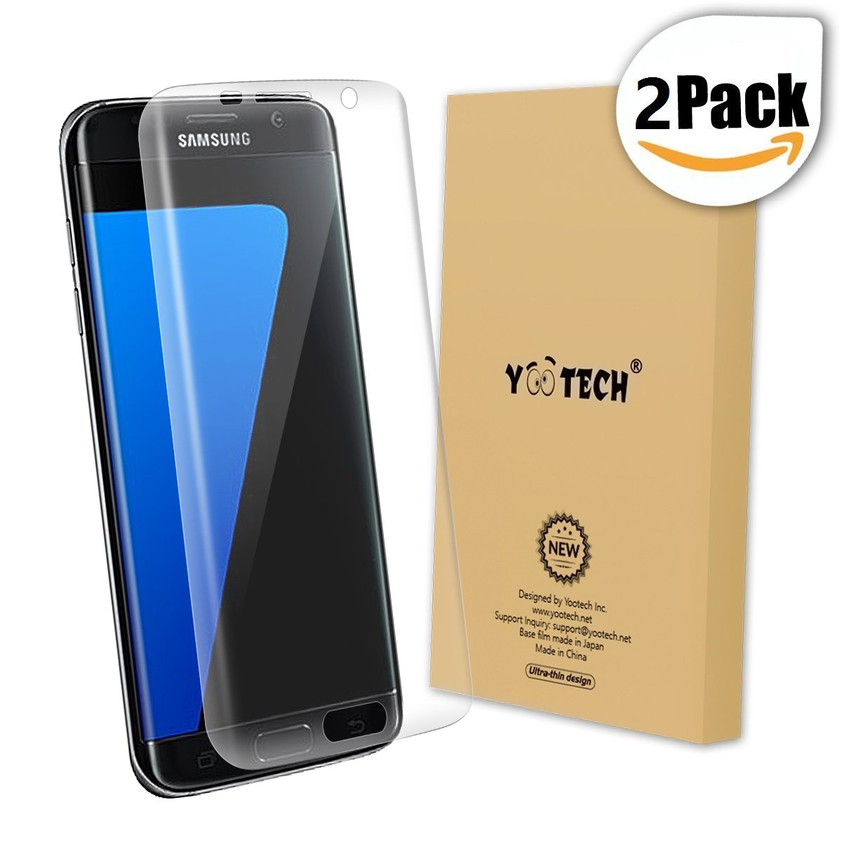 Galaxy S7 Edge Screen Protector (Full Coverage) ,Yootech (2-Pack) (Anti-Bubble) (HD Clear) Curved Edge to Edge Screen Protector for Samsung Galaxy S7 Edge,Lifetime Warranty