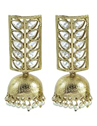 YoFashion Gold Plated Pearl Kundan Earring For Women
