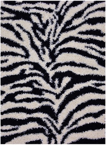 "Shaggy Collection Black Off-White Zebra Design Contemporary Modern Shag Area Rug (4203) (4'X5'3"") front-222921"