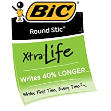 BIC Round Stic Xtra Life Ball Pen, Medium Point (1.0 mm), Blue, 12-Count