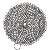 SySrion® Round Cast Iron Cleaner Xl 7x7 Inch Premium Stainless Steel Chainmail Scrubber