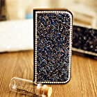 Luxury Bonzer Classic Bling Fashion Wallet Diamond Flip Feature with Credit/id Card Slots PU Leather Case Cover For Huawei Smart Mobile Phones 7 (Huawei Ascend Y M866/H866C, Blue)